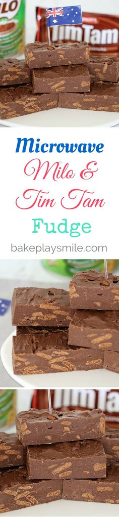 It doesn't get any more Australian than this Microwave Tim Tam & Milo Fudge. 1 X 395g tin sweetened condensed milk 375g milk chocolate melts 1 X 200g packet chocolate Tim Tam biscuits, roughly chopped ½ cup Milo (or any malted milk)
