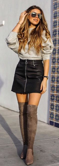 Cute Black leather full-zip skirt and gray sweater with over the knee boots! Great fall / winter outfit! | Fashion outfit ideas for stylish women.
