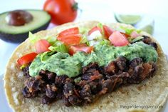 Black bean tacos with avocado cilantro-lime sauce (vegan and gluten-free)