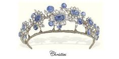The tiara from the Barberini sapphire parure. Worn here by Christie's employee, Laura Vere-Hodge, a large diamond and sapphire floral tiara, sold by Christie's in Royal Crowns, Royal Tiaras, Crown Royal, Tiaras And Crowns, Diamond Hair, Diamond Cuts, Sapphire Diamond, Blue Sapphire, Royal Jewelry