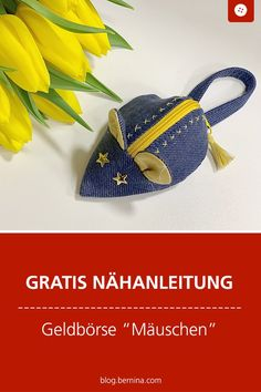 """Purse as a jeans mouse - sewing instructions and pattern - Free sewing instructions: Sew wallet """"Mäuschen"""" out of jeans # Nähanleitung # Near makes you - Small Sewing Projects, Sewing Hacks, Sewing Crafts, Sewing Patterns Free, Free Sewing, Hand Sewing, Sew Wallet, Sewing Jeans, Sacs Design"""