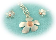 Sterling Silver and Copper Flower Pendant Necklace and Earrings by Kaledo.