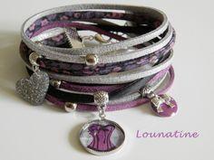 """réf.028 -Bracelet soie , Liberty et suédine double-tours """"Corset"""" esprit fashion gothique : Bracelet par lounatine-creations"""