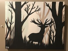 Deer silhouette in the wood acrylic painting canvas