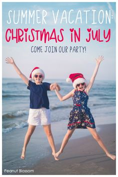 Come join the best summer vacation party ever: Get our FREE guide to hosting a Christmas in July fun day right at home with your kids. The festive activities are sure to make your whole family laugh this summer! A great way to cool off on a hot day. Summer Activities For Kids, Summer Kids, Christmas In July, Simple Christmas, Best Summer Vacations, Easy Meals For Kids, Kids House, Creative Ideas, Festive