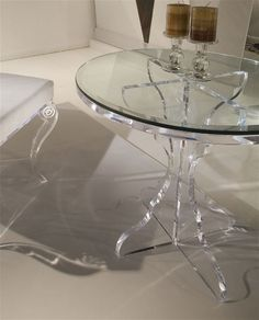 GRACIOUS SIDE TABLE by Shahrooz shahrooz-art.com - #AcrylicFurniture, #LuciteFurniture ACRYLICORE by Shahrooz is one of the top-leading designers and manufacturers in Fine Clear Acrylic Furniture and #Sculptures in the country. www.shahrooz-art.com  888-406-4846