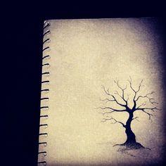 Dead black tree drawing