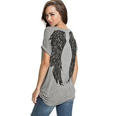 FV RELAY® Womens Summer Fashion Angel Wing Loose Tops Short Sleeve T-Shirt Tee *** Check this awesome item by going to the link at the image.