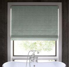 Textured Belgian Linen Tailored Roman Shade (color: Spruce) ...guest bedroom