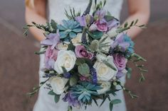 Beautiful wedding bouquet with Lavender, Succulents, Avalanche Roses, Lilac Freesia, white and purple Veronica and Eucalyptus ❤️
