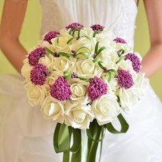 Fleur de Mariage Gracieuse Fleurs 31x Forme ronde En fibre polyester