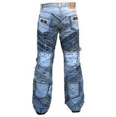 Hardcore Unique Handmade Rocker Denim Rivets Jeans Pant