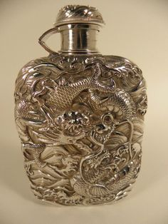 Amazing antique Japanese silver flask