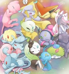 Tiny legendary Pokemon sleep over! I love all the tiny legendaries! Lol jirachi is snoring and hoopa can't sleep because of it! Fotos Do Pokemon, Gif Pokemon, Pokemon Images, Pokemon Fan Art, Pokemon Pictures, Pokemon Tattoo, Pokemon Eevee, Pokemon Funny, Anime Shows