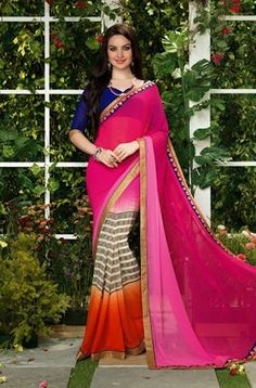 Pink , orange printed georgette saree with dupatta