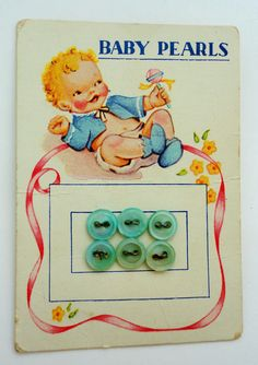 children's vintage buttons on card Button Cards, Button Button, Kids Graphics, Baby Pearls, Old Cards, Retro Images, Vintage Packaging, Cloth Flowers, Sewing A Button