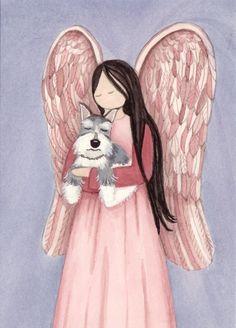 Schnauzer (cropped ears) and angel / Lynch signed folk art print