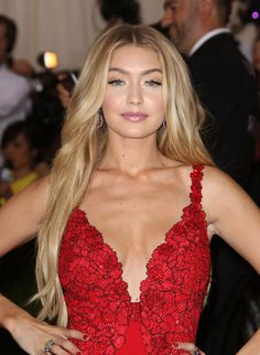 gigi hadid red dress makeup - Google Search