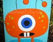 Nursery Wall Art, Kids Room, Children's Room Decor, Monster Art, Monster Design, Orange Blue Eye, 16x20 Canvas-from etsy