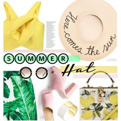 summer hat! by cutandpaste on Polyvore featuring Delpozo, Dolce&Gabbana, Kate Spade, Eugenia Kim, Miu Miu, By Terry and summerhat