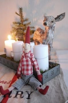 Christmas by Deer, candles, elf Christmas Makes, Noel Christmas, Merry Little Christmas, Country Christmas, Simple Christmas, All Things Christmas, White Christmas, Vintage Christmas, Christmas Stockings