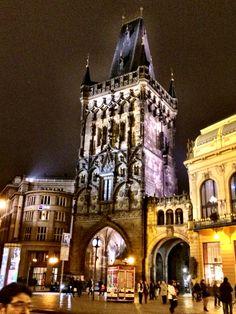 Prague # at night # Prašná brána