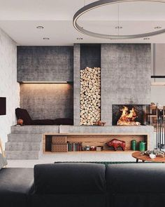 Regrading the subject, indoor fireplace ideas are pretty awesome as they will provide you with the coziness that you need. There are many fireplace. Interior Design Inspiration, Home Interior Design, Interior Architecture, Room Interior, Luxury Interior, Contemporary Architecture, Home Fireplace, Modern Fireplace, Concrete Fireplace