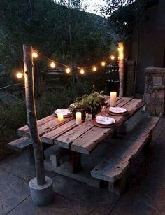 Backyard Picnic, Small Backyard Patio, Backyard Landscaping, Backyard Pools, Deck Patio, Patio Tables, Landscaping Ideas, Cozy Patio, Picnic Tables