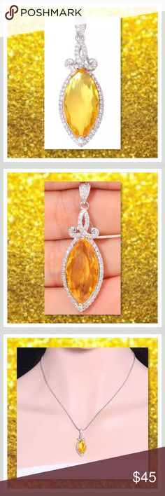 """JUST IN 🆕 Citrine and Zircon White GF Pendant Metal Type: White Gold Filled Main Stone and Size: Citrine 20x10mm Accessory Stone and Size: Zircon 1mm Pendant Size: 1 1/2"""" Pendant Width: 13mm Chain not included  ⭐️⭐️SORRY NO TRADES AND LOWBALL OFFERS WILL BE IGNORED ⭐️⭐️  ✂️LOWBALL OFFERS WILL BE IGNORED✂️ Glam Squad 2 You Jewelry"""