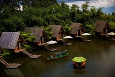 You Can't Miss These 7 Things to Do in Bandung, Indonesia Hut House, Tiny House Cabin, Tiny House Design, Bungalow, Triangle House, Jungle House, A Frame House, Farm Stay, River House