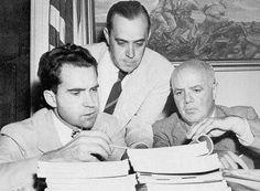 HUAC member (Nixon, Investigator Robert Stripling, and Chairman Thomas) with Hiss files.  HUAC: House Unamerican Activities Committee