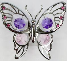 Großer Suncatcher Schmetterling silberfarben MADE WITH SWAROVSKI ELEMENTS - premium-kristall