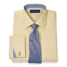 2-Ply Cotton Check Spread Collar French Cuff Dress Shirt | Paul Fredrick