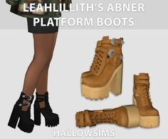 Sims 4 CC's - The Best: LeahLillith's Abner Platform Boots by HallowSims