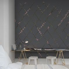 Hey,+bekijk+deze+mural+van+Rebel+Walls,+Winding+Spring,+Black!+#rebelwalls+#behang+#mural
