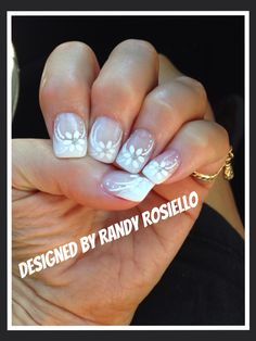 French nail design with white flower - Wedding Nail Design Also