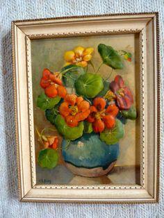Vtg 1940s Embossed Art Floral Picture Framed Orange, Green Nasturtiums.