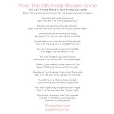 Pass The Gift Bridal Shower Game Free Printable http:/chasingayden.com/ashleys-blush-&-gold-bridal-shower