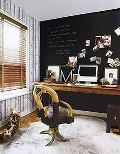 chalkboard accent wall, birch tree wallpaper