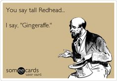 Funny St. Patrick's Day Ecard: You say tall Redhead... I say, 'Gingeraffe.'