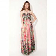 $22.78 Bohemian Halterneck Sleeveless Ruffles Floral Printed Slimming Dacron Dress For Women