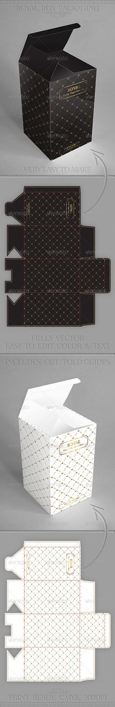 Royal Gift Package Box Template V2 - GraphicRiver Item for Sale Box Design Templates, Print Templates, Origami, Gift Packaging, Packaging Design, Printable Box, Fitness Gifts, Christmas Design, Package Box