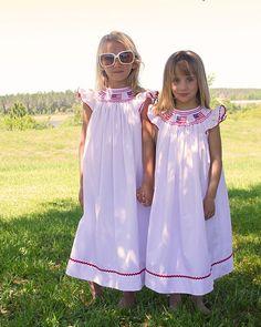 1e0d6125d01f White Girls Smocked US Flag Independence Day Bishop Dress