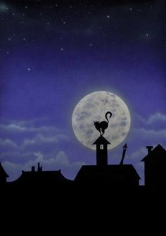 Silhouette of cat on house & moon art