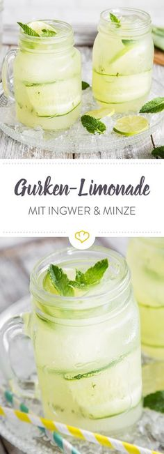 Gurken-Ingwer-Limonade mit frischer Minze und Honig Lemonade and cucumber – the two have searched and found each other. Together with ginger, mint and honey, this creates a wonderfully refreshing drink. Vegetable Drinks, Non Alcoholic Drinks, Refreshing Drinks, Food Items, Diy Food, Smoothie Recipes, Smoothies, Cucumber, Vodka