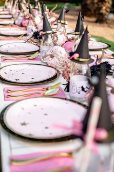 Take a look at this impressive halloween bash! The table settings are beautiful! See more party ideas and share yours at CatchMyParty.com