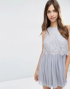ASOS Delicate Lace Crop Top Mesh Skater Prom Dress