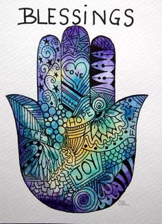 Beautiful Hamsa blessing that would make a great watercolor tattoo. Originally found on esty but no longer there.