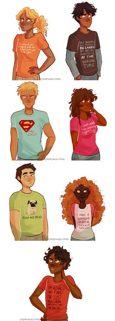 Annabeth Chase, Percy Jackson, Jason Grace, Piper McLean, Frank Zhang, Hazel Levesque & Leo Valdez | art by cherryandsisters | Artwork