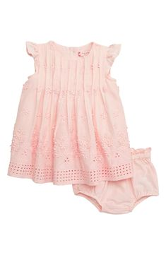 e6df93ea8982 Ruby & Bloom Flower Embroidered Pleated Dress (Baby Girls) | Nordstrom